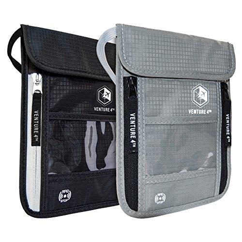 Venture 4th Travel Neck Pouch With RFID Blocking -Travel Wallet Passport Holder (Black + Silver) by VENTURE 4TH