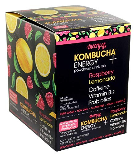 Theory of Kombucha Powdered Drink Mix, Energy +, 12 Single-Serving Pouches