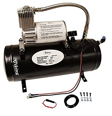 Amazon.com: Viking Horns V3305 1.5 Gallon Air Tank & air Compressor Kit, On-Board Air System For Train Air Horn: Automotive