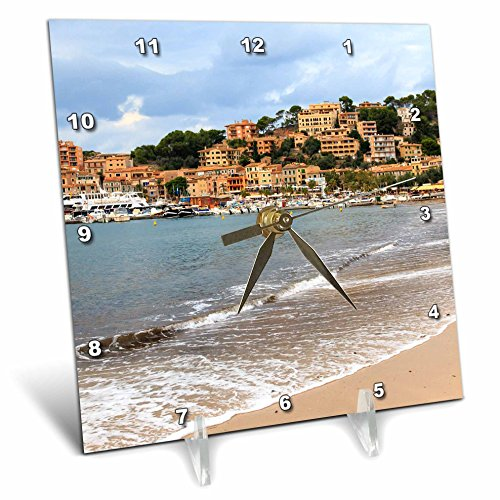 3dRose Danita Delimont - Cities - Spain, Balearic Islands, Mallorca, Port of Soller historic waterfront - 6x6 Desk Clock (dc_277908_1) by 3dRose