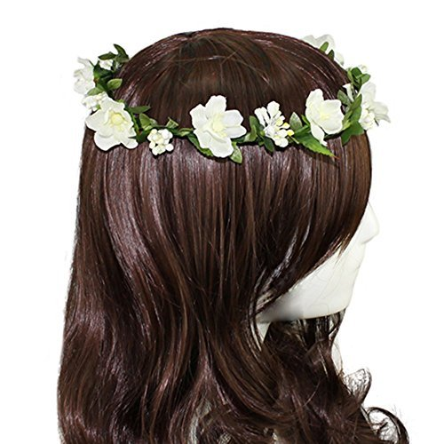 (DreamLily Women's Flower Festival Wedding Hair Wreath Boho Floral Headband BC09(Ivory))