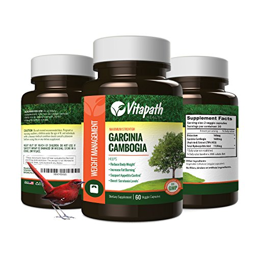 Garcinia Cambogia Extract 1600MG Diet Pill, 100% All Natural Fat Burner, Premium Weight Loss Management, Appetite Suppressant -60 Veggie Caps- By Vitapath