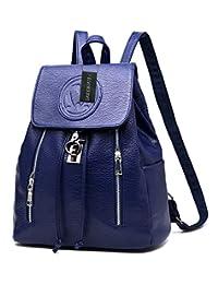 Greeniris Teenage Girls Faux Leather Backpack Purse Fashion School Backpack for Women Sapphire Blue