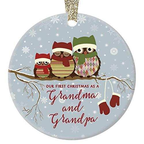 - Our First Christmas as Grandma & Grandpa Cute Owl Family Ceramic Keepsake Present 1st Holiday as New Grandparents Grandmom Grandpop 3