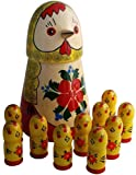 "Hen & 10 Chicks Inside - Unique Matryoshka - Set Of Stacking Wooden Dolls - Handmade Toy - 7"" Tall"