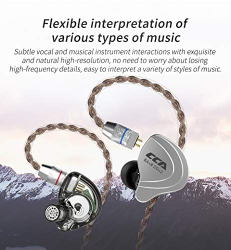 CCA C10 Five Drivers Hybrid in Ear Monitors in Each Side HiFi 4BA 1DD High Resolution Earphones Earbuds with 3.5mm Gold Plated Plug Detachable Cable 2pin 0.75mm Wired Earbuds Black Without mic