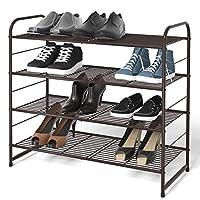 Simple Trending Stackable Shoe Rack, Expandable & Adjustable Shoe Shelf Storage Organizer, Wire Grid, Bronze
