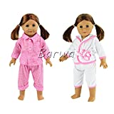 Barwa 2 Sets Sleepwear Pajamas Clothes Outfit Fits American Girl Doll, My Life Doll, Our Generation and other 18 inch Dolls