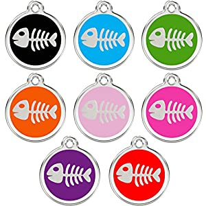 Stainless Steel with Enamel | Dog Tags Pet Tags Cat Tags | Designers Round | Many Shapes to Choose From | by CNATTAGS (LIFE TIME WARRANTY) (Round Fish)