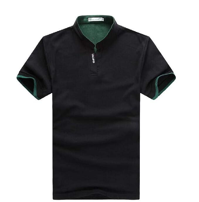SELX - Polo de Golf de Manga Corta con Cuello Alto para Hombre ...