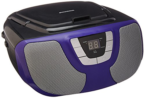 Sylvania Portable CD Player Boom Box with AM/FM Radio (Purple)