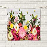 smallbeefly Rustic Hand Towel Bunch of Flowers Ranunculus on Wood Backdrop Rose Floral Arrangement Spring Pattern Quick-Dry Towels Multicolor Size: W 20'' x L 39''