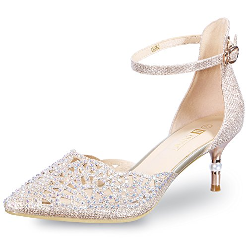 (IDIFU Women's IN2 Candice Rhinestones Sequins Mid Heels Stiletto Wedding Pump Gold 5 B(M) US)