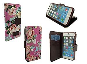 IPHONE 6 WALLET CASE, MOBILE KING USA iPhone 6 (4.7) INCH SCREEN Jean Leather Wallet Credit Card Case Holder (Dark Pink Floral)