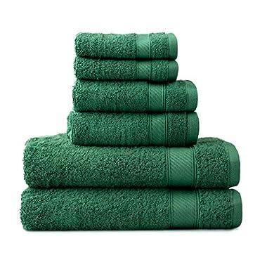 Wamsutta 6-Piece Hygro Duet Bath Towel Set Includes Washcloths,Hand Towels Bath Towels (Spruce)