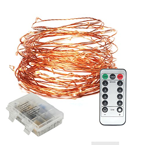 Submersible LED Fairy String Light with Remote Control Dimmable Battery Operated 33ft Copper Wire String for Outdoor Indoor, Patio, Wedding, Party, Christmas Decoration(Warm White) by WHATOOK