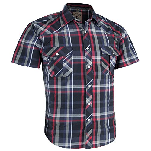 Coevals Club Men's Casual Plaid Snap Front Short Sleeve Shirt (Red/Black #6, XXL)