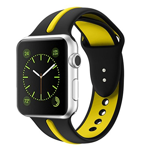 Soft Silicone Watch Band for Apple iWatch Sports/Editions Series 2/Series 1 Sport Style Replacement Watchband Strap Stripe Contrast Color Wristbands (Black/Yellow, 42mm)