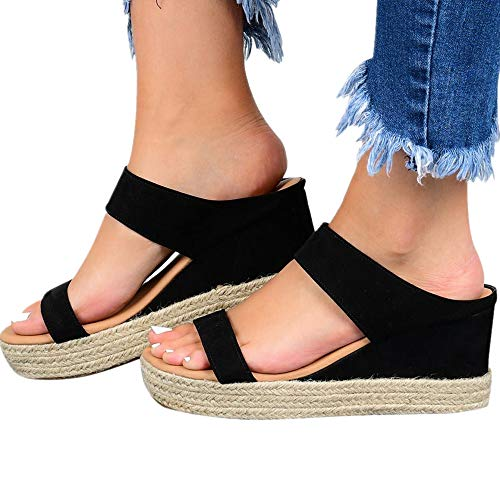 Womens Sandals Casual Wedges Sandals Summer Comfortable Thick Insole Sandals Open Toe Fashion Beach Shoes