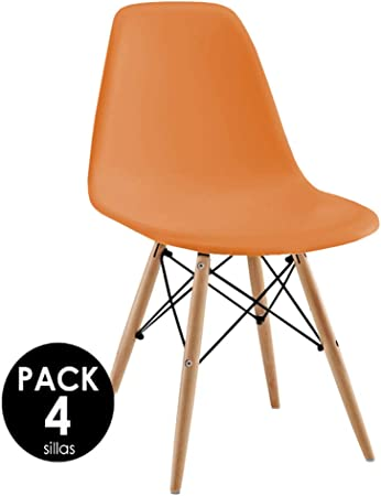 Sillatea Pack 4 sillas Tow Wood - Naranja