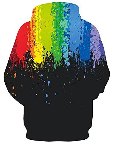 Felpe Cappuccio Rainbow S Stampa Ponticelli 3d Aideaone Black Pullover 4xl Con Tasche OwdqSFZ
