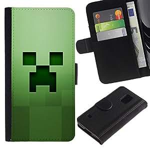 // PHONE CASE GIFT // Moda Estuche Funda de Cuero Billetera Tarjeta de crédito dinero bolsa Cubierta de proteccion Caso Samsung Galaxy S5 V SM-G900 / Green creep /