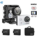 WiMiUS 4K HD Waterproof 40M Action Camera Helmet Camera 12MP Built-in WiFi with 2 Rechargeable Batteries,Mounting Accessories and Portable Bag(Silver)
