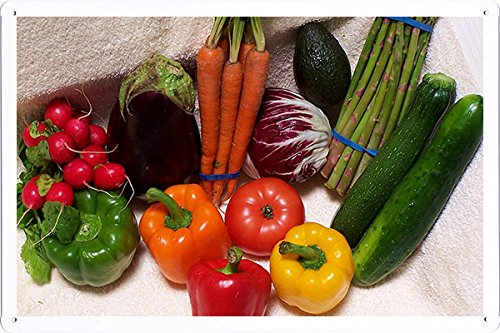 Vegetables Carrots Pepper Garden Radish Cucumber 10319 Tin Poster by Food & Beverage Decor Sign from Food & Beverage Decor Sign