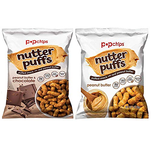- PopChips Nutter Puffs, Puffed Snack Variety Pack 1 oz bags(Peanut Butter and Peanut Butter/Chocolate) (Variety(PB and PB/Chocolate), 18)
