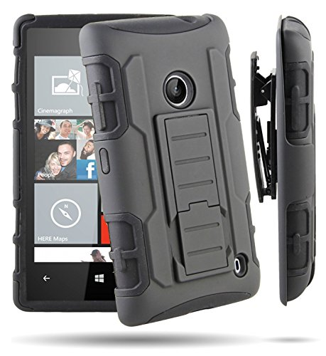 RANZ Nokia Lumia 520 (AT&T) Black Rugged Impact Armor Hybrid Kickstand Cover with Belt Clip Holster Case (Nokia Lumia 520 Back Cover)