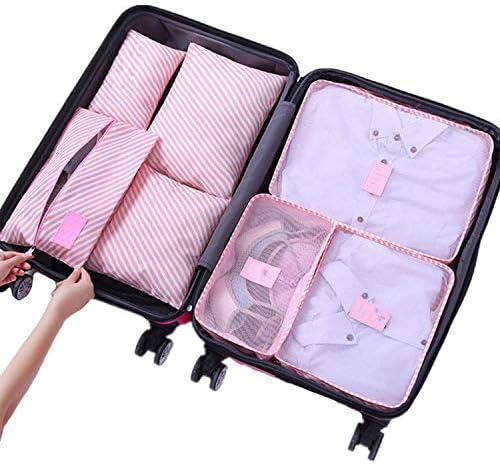 7ピース/セット旅行オーガナイザー収納袋ポータブル荷物オーガナイザー服片付けポーチスーツケースパッキングセット収納ケース、ピンクストライプ