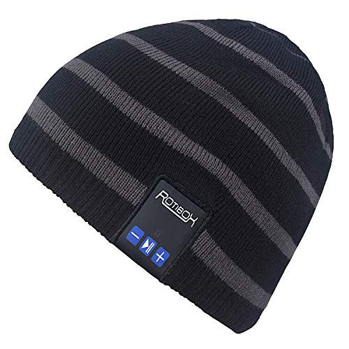 Mydeal Winter Unisex Adult Wireless Bluetooth Beanie Hat Cap Ear Warmers with Headphones Headsets Earphones Speakers Music Audio Hands-Free Call for Outdoor Skiing Snowboard, Black