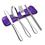 VICBAY 4 Pieces Stainless Steel Flatware Set, Knife Fork Spoon Chopsticks Set, Travel Camping Cutlery Set with Neoprene Case, Reusable Lunch Box Utensils, Portable Travel Flatware Set, Purple