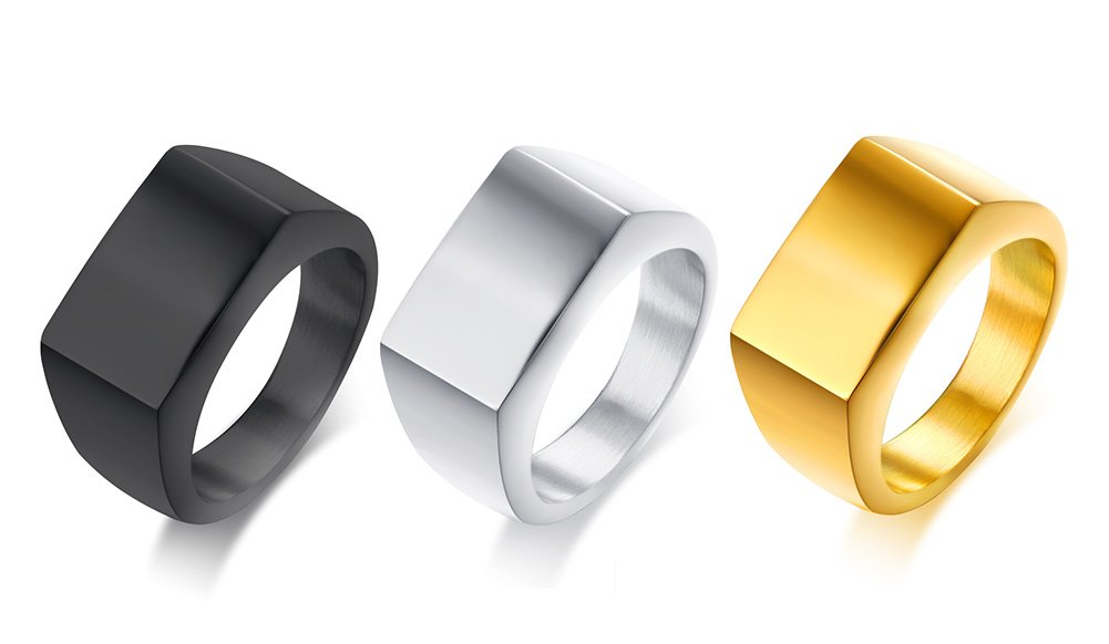 3 pcs Stainless Steel Classic Plain Simple Blank Polished Rectangle Signet Ring Band for Men,size 8