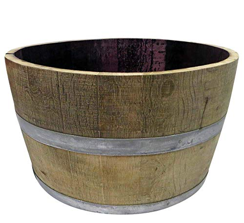 Planter Wooden Large - MGP Genuine Oak Wood Half Wine Barrel Planter, 27