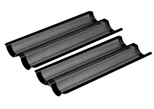 Baguette-Backblech Doppelpackung für französische Stil Brot, antihaftbeschichtet, Mikro-perforiert, Karbonstahl, schwarz, L
