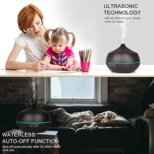 Tenswall 400ml Diffuseur d'Huiles Essentielles, Très Silencieux Humidificateur Ultrasonique Sans BPA avec 7 Couleurs Lumières LED pour la Maison, Yoga, Bureau, SPA, Chambre