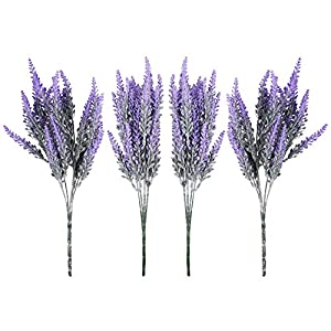 Hecaty 8pcs Artificial Flocked Lavender Bouquet, DIY Bridle Flowers Arrangements Home Kitchen Garden Office Wedding Decor Floral, Fake Outdoor Plants 12
