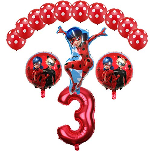 Miraculous Ladybug Foil Balloons Birthday Party Decorations Number Ladybug Helium Mylar Latex Balloon Globos Wholesale - 14PCS (3) ()