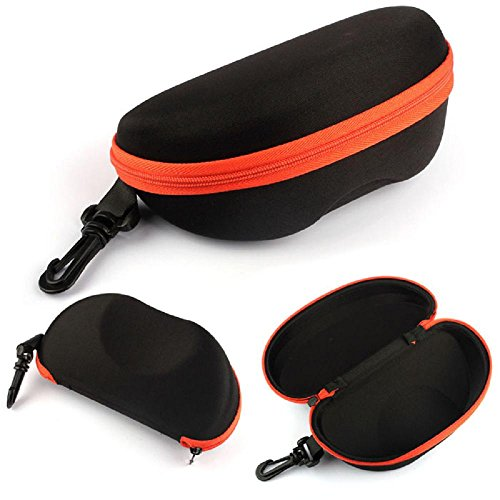 Kinghard Portable Carabiner Eye Glasses Sunglasses Hard Case Protector Box Holder (Zip-Orange, Sunglass Holder) (Carabiner Hard Carry Case)