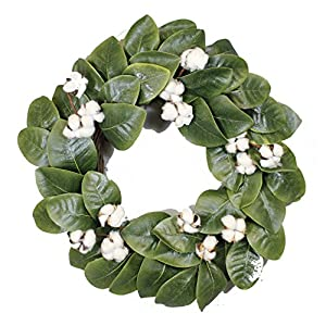 "Magnolia & Cotton Wreath - 22"" - Adjustable Stems - Timeless Farmhouse Decor - Wedding Centerpiece - Silvercloud Trading Co. 1"