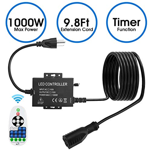 Adust Outdoor Plug-in Dimmer Switch for String Lights, AC 110V Max 1000W Bulbs Dimmer Switch with 9.8 Ft Extension Cord, 65 Ft Wireless Remote Control, 3 Prong Outlet, Waterproof IP65, Timer Function