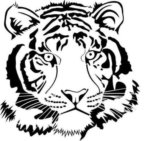 ELKS Unique Design FACE of A Tiger Front ON CAR Decal Sticker, Orange, 16 Inch, Die Cut Vinyl Decal, for Windows, Cars, Trucks, Toolbox, Laptops, MacBook-virtually Any Hard Smooth Surface ()