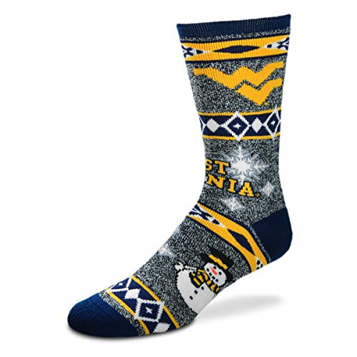 For Bare Feet NCAA Ugly Christmas Holiday Snowman Socks-West Virginia Mountaineers-Large