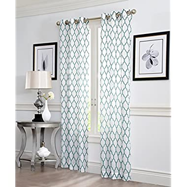 Ruthy's Textile GEO Flocked Sheer Grommet Window Curtain Panels, 38X84-Inches, 2 Piece, Aqua