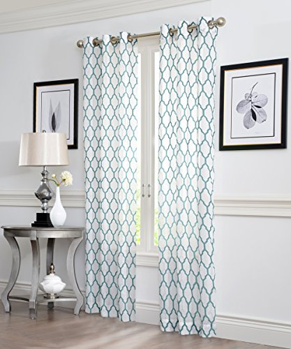 Ruthy's Textile GEO Flocked Sheer Grommet Window Curtain Panels, 38X84-Inches, 2 Piece, Aqua -