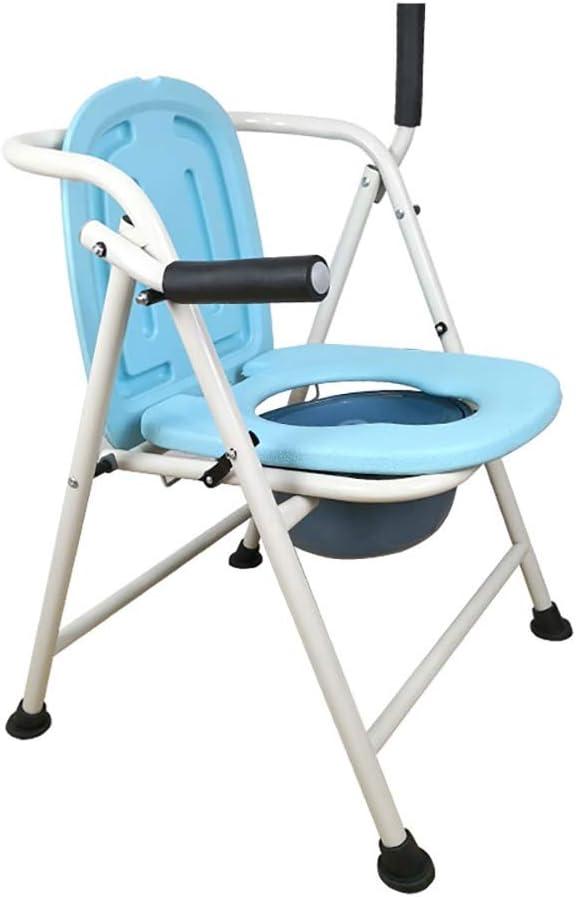トイレの上の医療折りたたみベッドサイド便器椅子 高齢者トイレチェア折り畳み式の妊婦のトイレホームモバイルトイレ高齢者障害者の患者座席スツールチェア (Color : Blue)