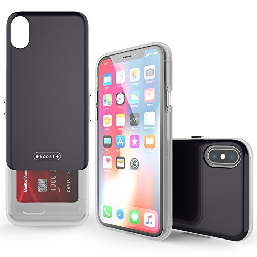 iPhone X Case, Molan Cano [Boost] Sliding Card Holder Wallet Case Dual Layer PU Cover with 2 Card Slots for Apple iPhone X - Black