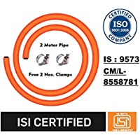 Sunlight LPG Gas Pipe with ISI and ISO Certified-2 Meter,Steel Reinforced Rubber Gas Pipe (2M,Orange)-5 Year Warranty