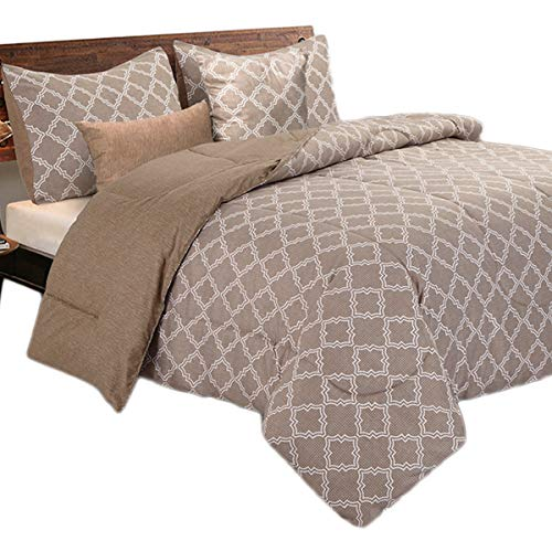 HollyHOME Bed in a Bag Comforter Set Queen Size 5 Pcs Brown Geometrical Pattern All Season Comforter